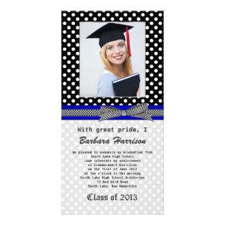 Black white polka dot Graduation Photo Card