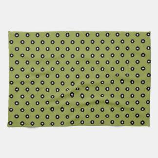 Black/White Polka Dot Green Background(Changeable) Tea Towel