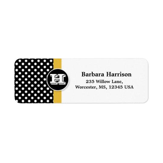 Black, white polka dot Monogrammed Graduation Return Address Label