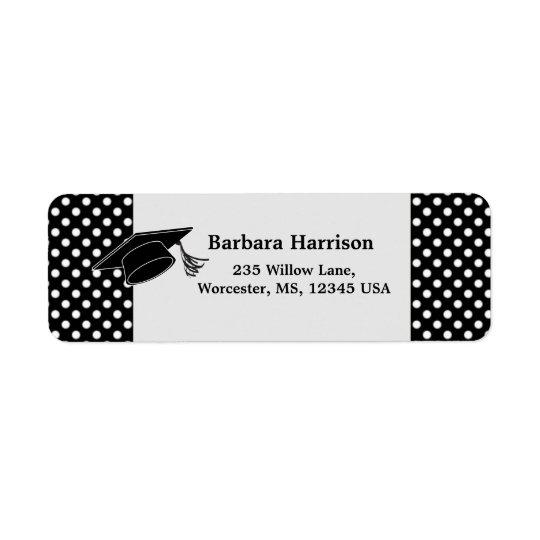 Black white polka dot, mortar Graduation Return Address Label
