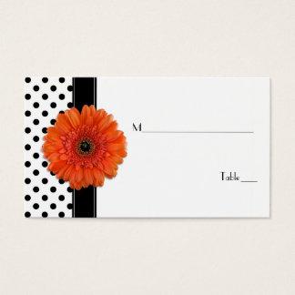 Black White Polka Dot Orange Gerber Place Card