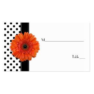 Black White Polka Dot Orange Gerber Place Card Pack Of Standard Business Cards