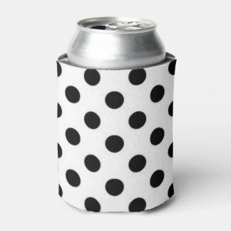 Black white Polka Dot Pattern Print Design Can Cooler