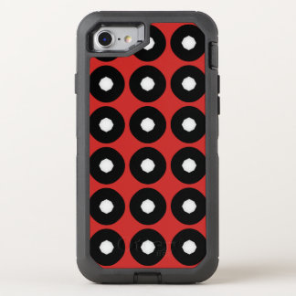 Black/White Polka Dot Red Background (Changeable) OtterBox Defender iPhone 8/7 Case