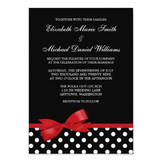 Black White Polka Dot Red Bow Wedding 13 Cm X 18 Cm Invitation Card
