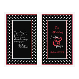 Black White Polka Dot Red Trim Wedding Program Flyer