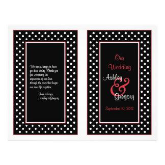 Black White Polka Dot Red Trim Wedding Program Flyers