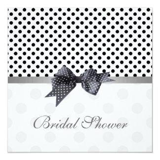 Black white polka dot, ribbon Bridal shower Card