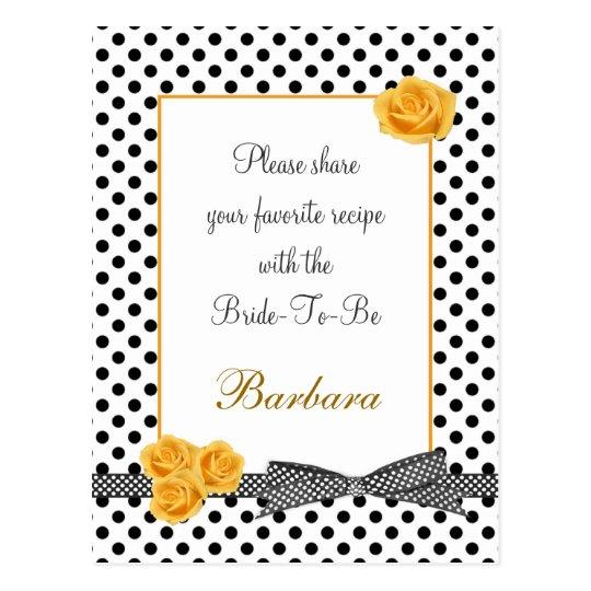 Black white polka dot rose Recipe card Postcard