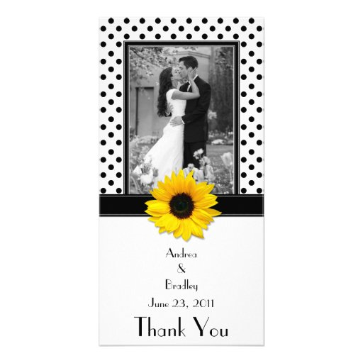 Black White Polka Dot Sunflower Wedding Photo Card