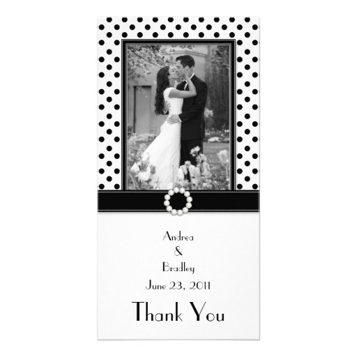 Black White Polka Dot Wedding Photo Photocard Picture Card