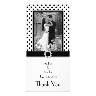 Black White Polka Dot Wedding Photo Photocard Card