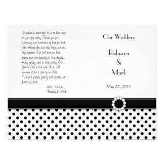 Black White Polka Dot Wedding Program Flyer