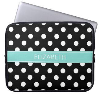 Black White Polka Dots #2 Turquoise Name Monogram Laptop Sleeve
