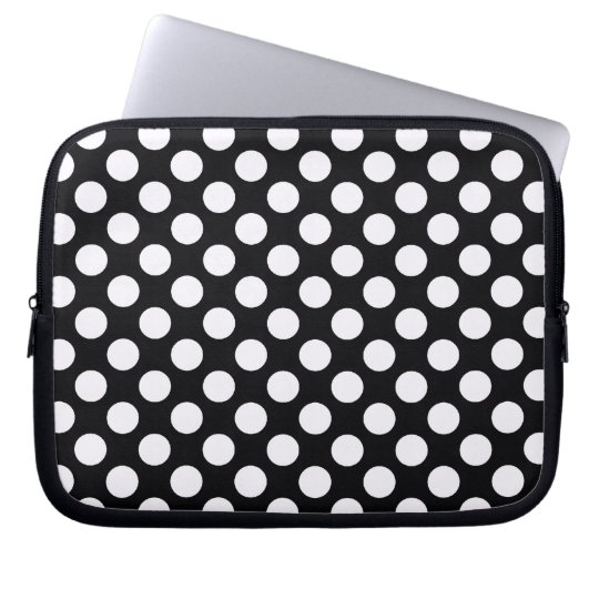 Black White Polka Dots - Laptop Sleeve