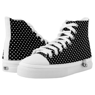 Black White Polka Dots Pattern Printed Shoes
