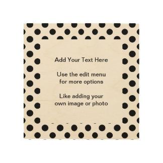 Black White Polka Dots Pattern Wood Print