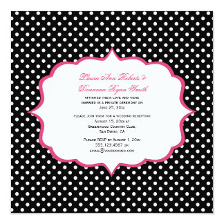 Black White Polka Dots Pink Frame Reception Only 13 Cm X 13 Cm Square Invitation Card