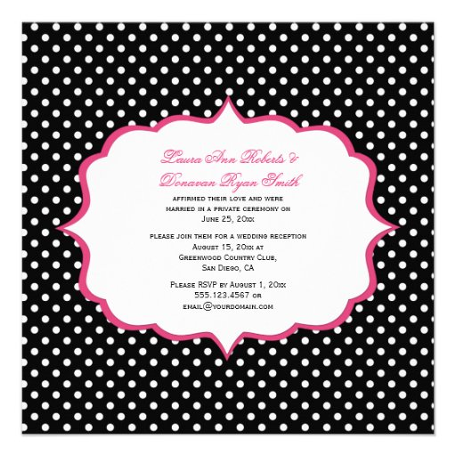 Black White Polka Dots Pink Frame Reception Only Custom Announcement