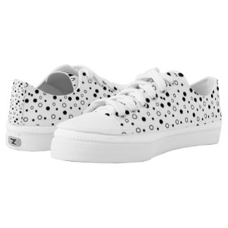 Black White Polka Dots Printed Shoes