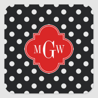 Black White Polka Dots Red Quatrefoil 3 Monogram Square Sticker