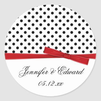 Black White Polka Dots Red Save The Date Round Sticker