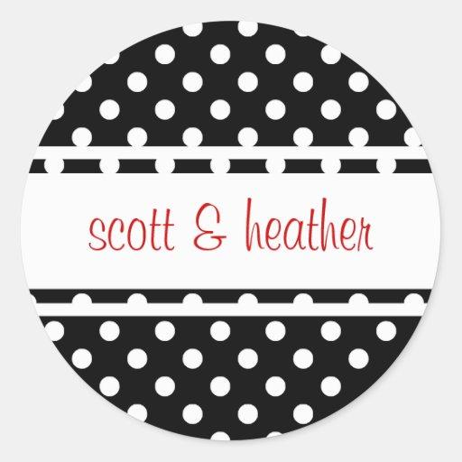 Black & White Polka Dots - Red Round Sticker