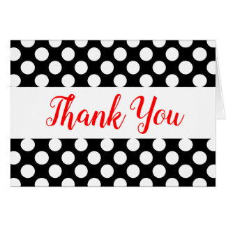 Black & White Polka Dots Red Thank You Wedding Card