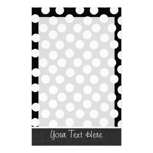 Black & White Polka Dots Custom Stationery