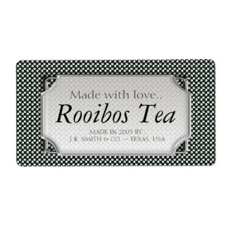 Black White Polka Dots Tea Wine Bottle Labels
