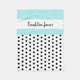 black/white polka dots w blue/white; personalised fleece blanket