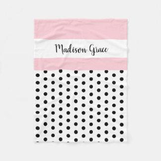 black/white polka dots w pink/white; personalised fleece blanket