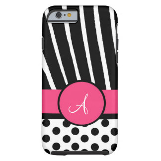 Black & White Polka Dots with Zebra & Pink Tough iPhone 6 Case