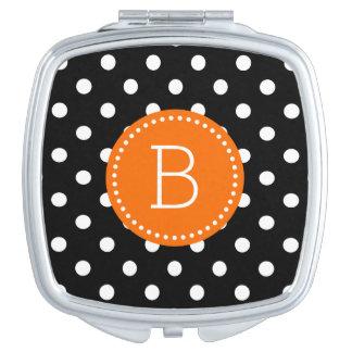Black & White PolkaDot Orange Accents Mirror For Makeup
