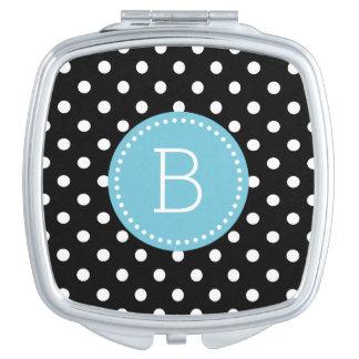 Black & White PolkaDot Pattern Blue Accents Mirror For Makeup