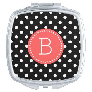 Black & White PolkaDot Pattern Coral Accents Vanity Mirror