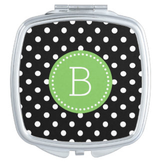 Black & White PolkaDot Pattern Green Accents Makeup Mirror