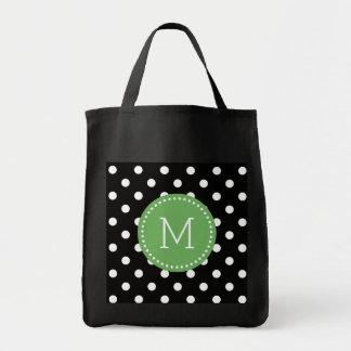 Black & White Polkadot Pattern Green Accents Grocery Tote Bag