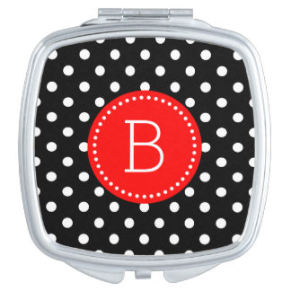 Black & White PolkaDot Pattern Red Accents Compact Mirror