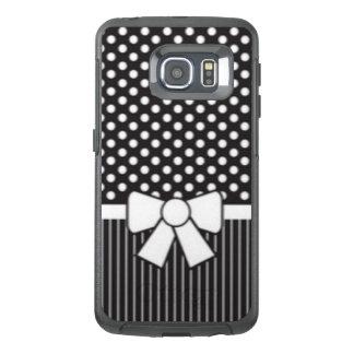Black White Polkadot Stripe Pattern Print OtterBox Samsung Galaxy S6 Edge Case