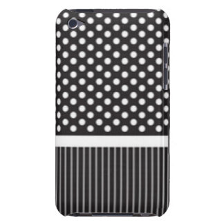 Black White Polkadot Stripes Pattern Print Design Barely There iPod Cases