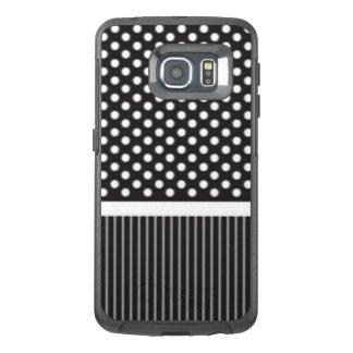 Black White Polkadot Stripes Pattern Print Design OtterBox Samsung Galaxy S6 Edge Case