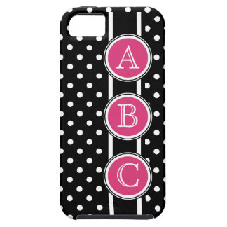 Black  White Polkadots Hot Pink Dot Initials Tough iPhone 5 Case