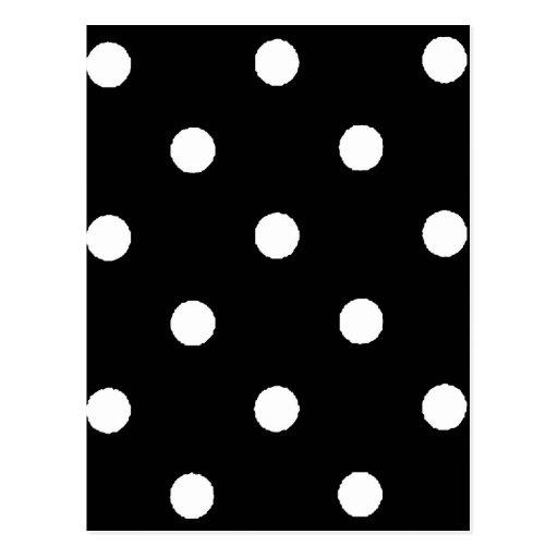 black & white polkadots postcard