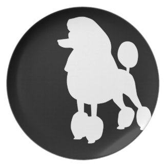 Black & White Poodle Graphic Plate