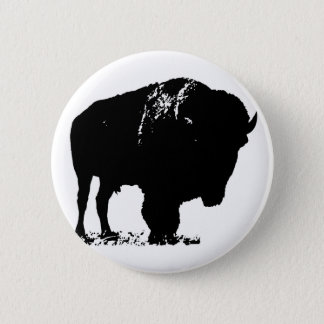Black & White Pop Art Bison Buffalo 6 Cm Round Badge