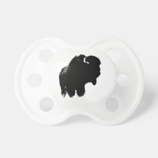 Black & White Pop Art Bison Buffalo Baby Pacifiers