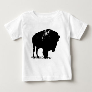 Black & White Pop Art Bison Buffalo Baby T-Shirt