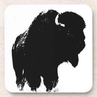 Black & White Pop Art Bison Buffalo Coaster