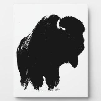 Black & White Pop Art Bison Buffalo Display Plaques